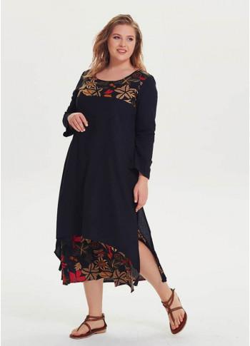 Floral Printed Plus Size Black Maxi Dress