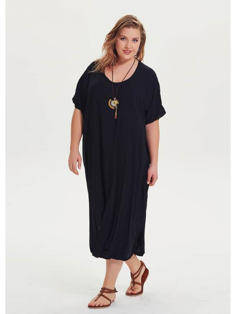 Bohemian Style Short Sleeve Plus Size Black Dress