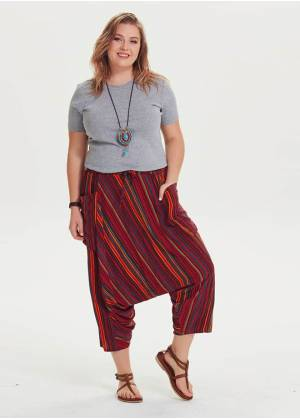 Elastic Waist Drop Crotch Boho Chic Plus Size Striped Capri Pants