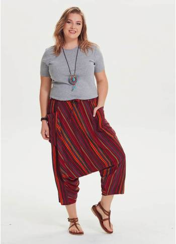 Elastic Waist Drop Crotch Boho Chic Plus Size Striped Capri Pants