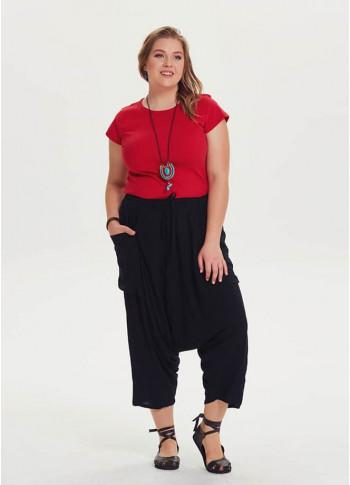 Oversized Pocket Detailed Wholesale Plus Size Black Cropped Pants