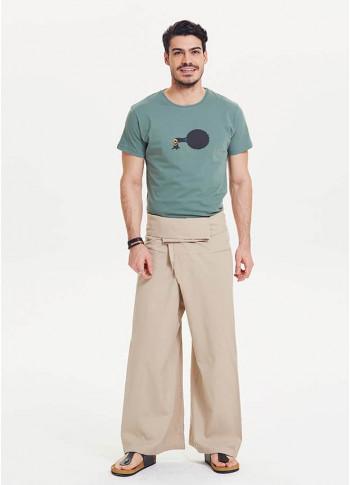 Thai Fisheman Style Wide Leg Cream Yoga Pants