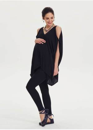 Relaxed Fit Hem Detailed Maternity Black Tunic Top