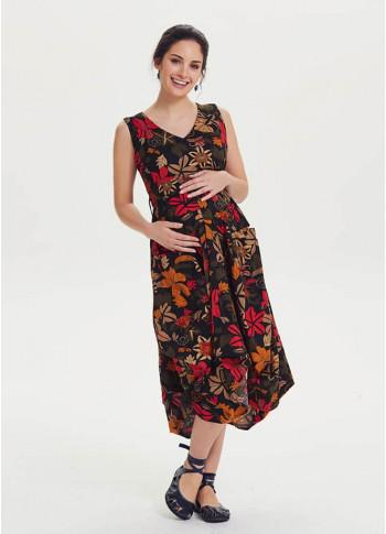 Sleeveless V Neckline Floral Cotton Bohemian Maternity Dress
