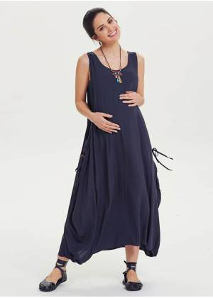 Scoop Neckline Loose Fit Bohemian Wholesale Maternity Maxi Dress