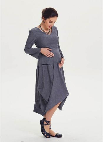 Oversized Pocket Detail Long Sleeve Tie Waist Maternity Dress