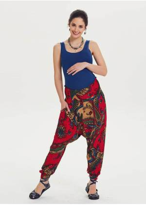 Ethnic Print Shirred Waist Red Maternity Pants