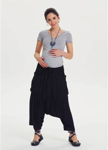 Oversized Pocket Detailed Black Maternity Capri Harem Pants