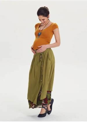 Drawstring Tie Double Layered Maternity Maxi Skirt