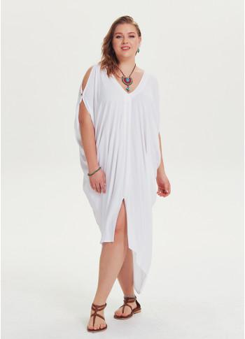 Asymmetrical Hem White Wholesale Plus Size Cold Shoulder Dress