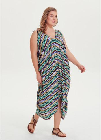 Deep V Neckline Asymmetrical Hem Shoulder Detail Plus Size Dress