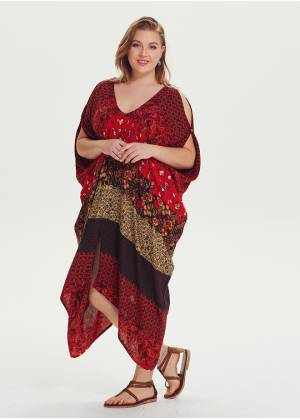 Ethnic Print Asymmetrical Hem Plus Size Cold Shoulder Dress
