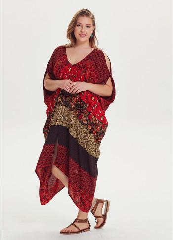 Ethnic Print Asymmetrical Hem Plus Size Cold Shoulder Dress