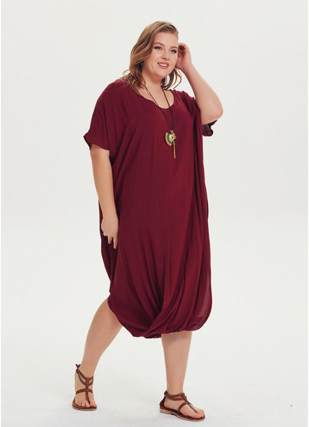 Wrap Hem Short Sleeve Plus Size Dress | Wholesale Boho Clothing