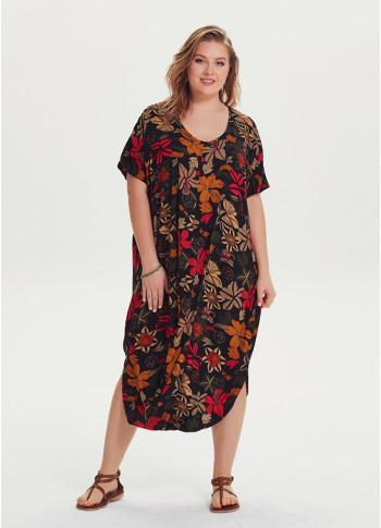 Wrap Hem Detail Scoop Neck Floral Wholesale Plus Size Boho Dress