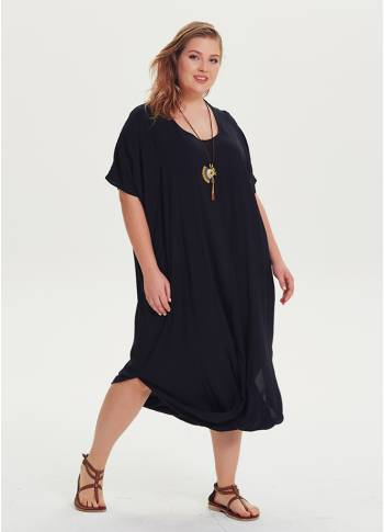 Bohemian Style Scoop Neckline Wholesale Plus Size Black Dress