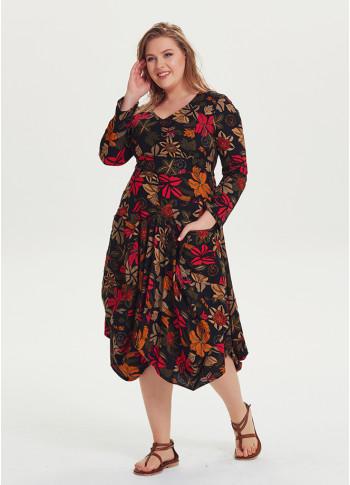 Floral Long Sleeve Plus Size Black Boho Dress