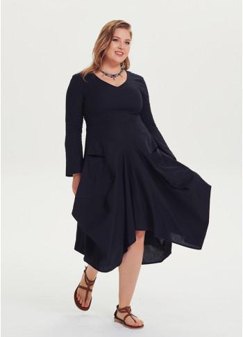 Oversized Pockets V Neck Plus Size Black Dress