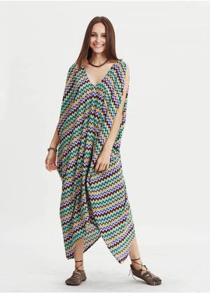 Loose Fit Sleeveless Deep V Neck Hippie Style Cold Shoulder Dress
