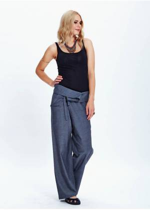 Tie Waist Wide Leg Gray Fisherman Yoga Pants