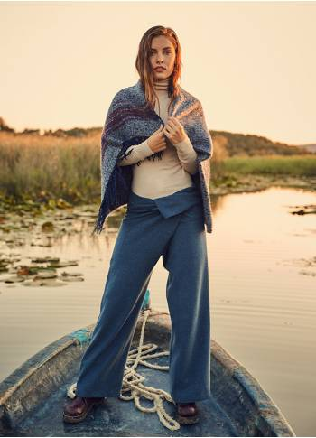 Wrapped Tie Waist Blue Fisherman Yoga Pants