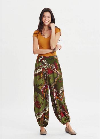 Paisley Print Elastic Waistband Wholesale Harem Pants
