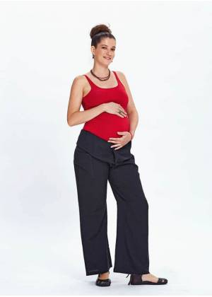 Thai Fisheman Style Wide Leg Black Maternity Pants