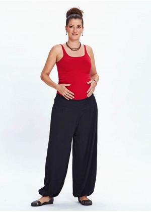 Elastic Waist Elastic Hem Black Maternity Pants