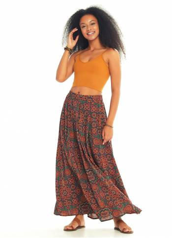 Ethnic Print Pleated Elastic Banded Maxi Retro Skirt