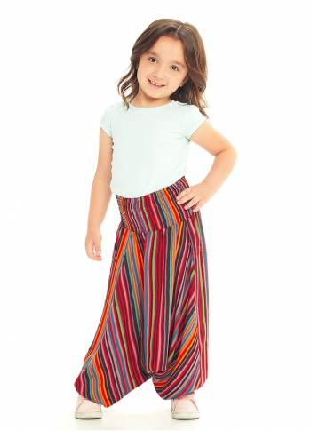 Kids Red Ethnic Print Shirred Elastic Waistband Harem Pants