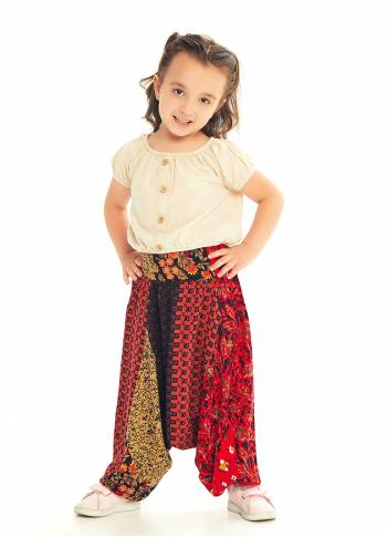 Kids Ethnic Patch Shirred Elastic Waistband Harem Pants