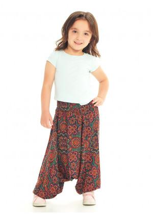 Kids Ethnic Retro Shirred Elastic Waistband Harem Pants