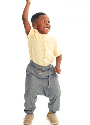 Kids Elastic Ankle Cuffs Low Rise Gray Man Pants