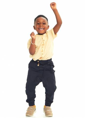 Kids Elastic Ankle Cuffs Low Rise Black Man Pants