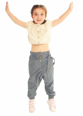 Kids Elastic Ankle Cuffs Low Rise Gray Pants