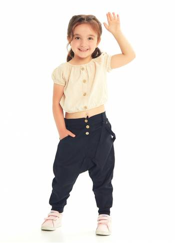 Kids Elastic Ankle Cuffs Low Rise Black Pants