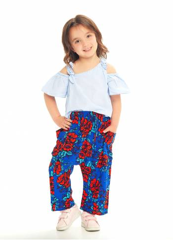 Kids Sax Flowers Capri Harem Pants