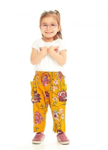Kids Mustard Flowers Capri Harem Pants