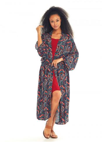 Khaki Stella Patterned Kimono
