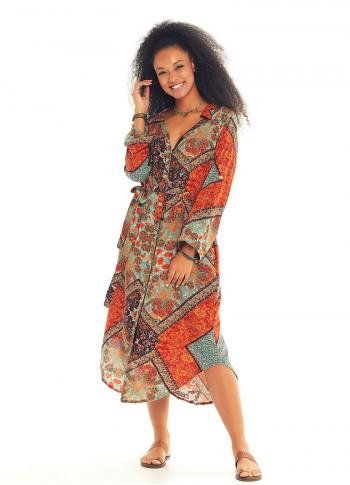 Round Hem Detail Button Down Shirt Dress