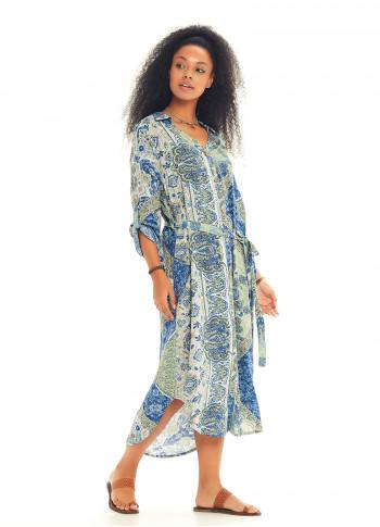 Round Hem Detail Blue Print Shirt Dress
