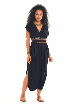 Slit Detailed Belted Black Summer Dress