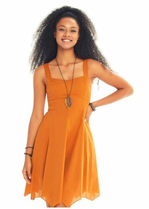Mustard Sweetheart Neck Fit And Flare Day Dress