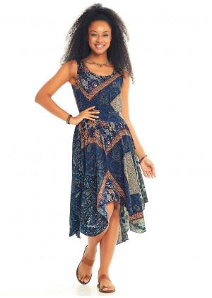 Blue Print Asymmetrical Hem Midi Summer Dress