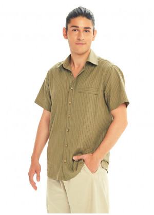 Half Sleeve Striped Khaki Men's Cotton Shirt