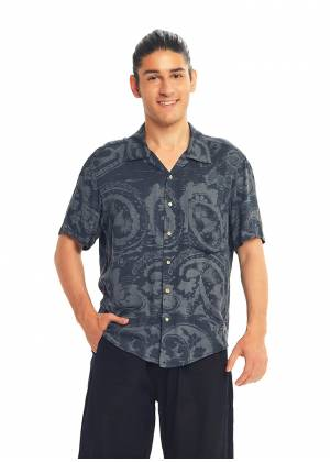 Gray Patterned Comfortable Fit Men's Shirt