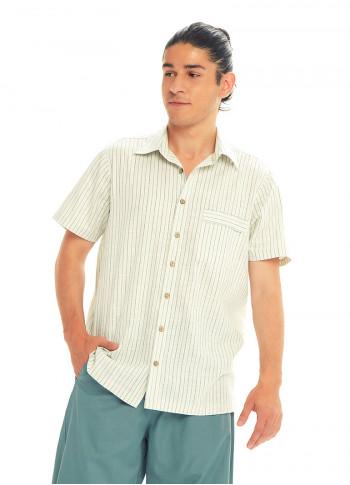 Half Sleeve Coconut Button Down Men's Cream Striped Shirt