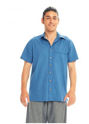 Half Sleeve Coconut Button Down Men's İndigo Striped Shirt