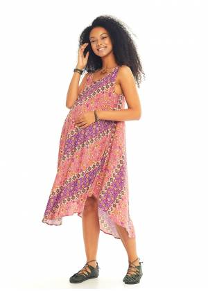 Loose Fit Printed Boho Maternity Sundress