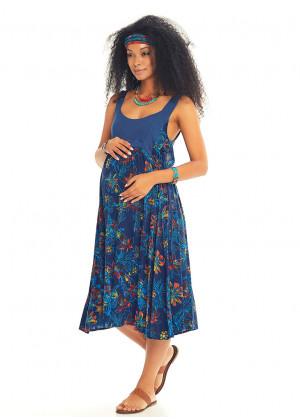Blue Floral Open Back Boho Maternity Sundress